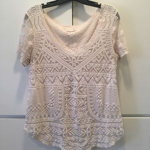 Off white Embroidered Anthropologie Shirt
